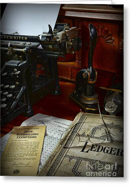 Typewriter Greeting Cards - Time to Pay Your Taxes  Greeting Card by Paul Ward