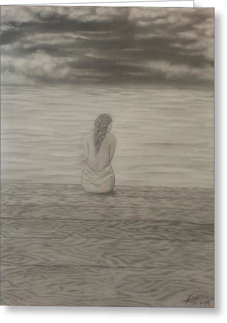 Pondering Drawings Greeting Cards - Time to Reflect Greeting Card by New Chapter Art