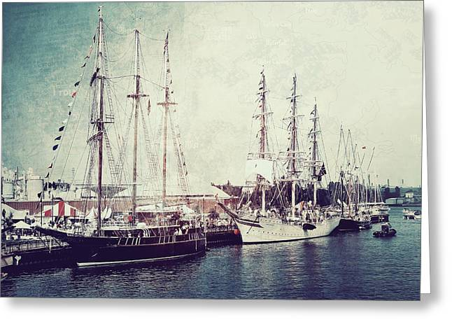 Tall Ships Greeting Cards - Time To Set Sail Greeting Card by Joel Witmeyer
