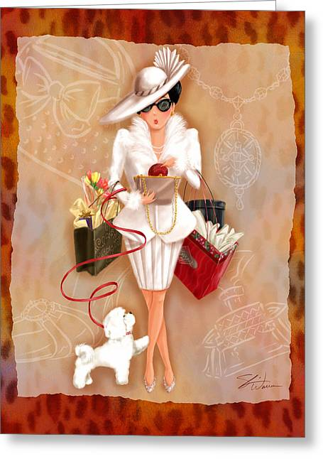 Lady Mixed Media Greeting Cards - Time to Shop 1 Greeting Card by Shari Warren