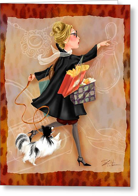 Lady Mixed Media Greeting Cards - Time to Shop 2 Greeting Card by Shari Warren