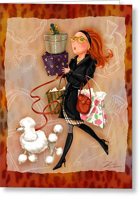 Lady Mixed Media Greeting Cards - Time to Shop 4 Greeting Card by Shari Warren