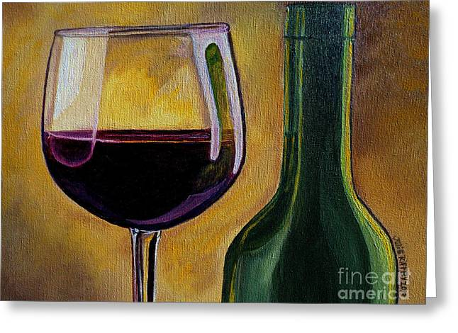 Wine Reflection Art Greeting Cards - Time to Unwind Greeting Card by Julie Brugh Riffey