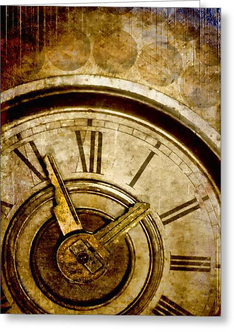 Clock Greeting Cards - Time Travel Greeting Card by Carol Leigh