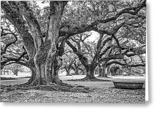 Slavery Greeting Cards - Time Travel Oil bw Greeting Card by Steve Harrington
