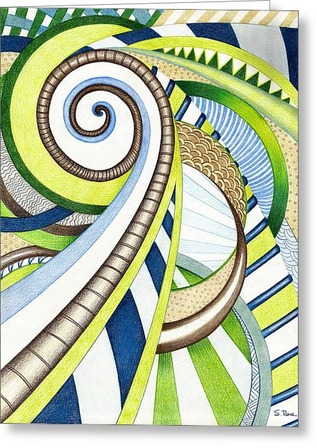 Green Surreal Geometry Greeting Cards - Time Travel Greeting Card by Shawna  Rowe