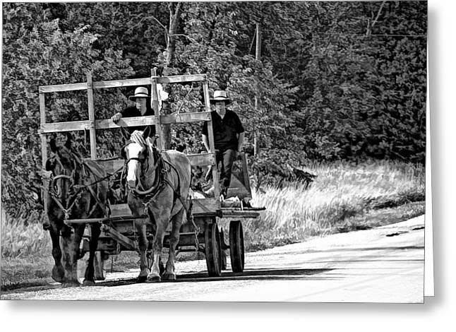 Amish Greeting Cards - Time Travelers bw Greeting Card by Steve Harrington