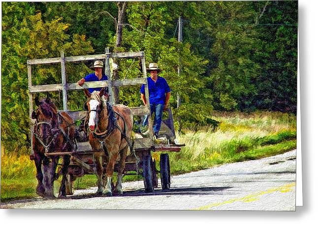 Amish Greeting Cards - Time Travelers impasto Greeting Card by Steve Harrington