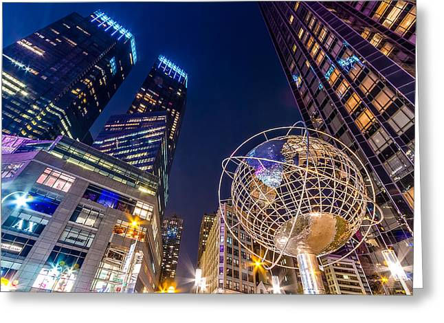 Tone Mapped Greeting Cards - Time Warner and Trump Towers at Night Greeting Card by Val Black Russian Tourchin