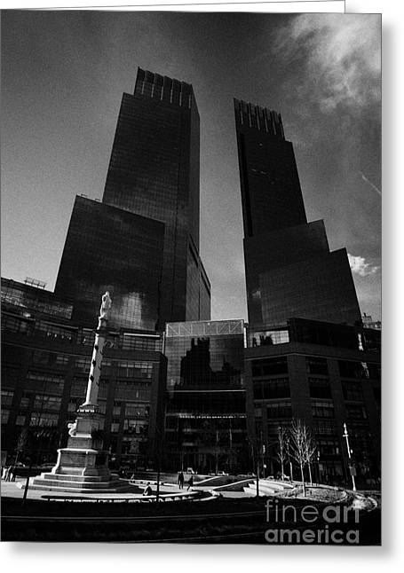 Manhatan Greeting Cards - Time Warner center and statue of Christopher columbus on columbus circle new york city Greeting Card by Joe Fox