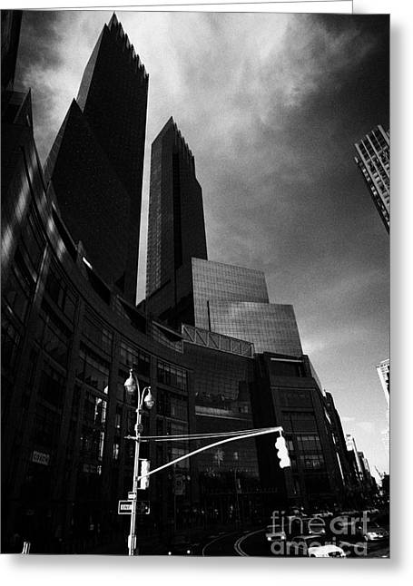 Manhatan Greeting Cards - Time Warner center on columbus circle new york city Greeting Card by Joe Fox