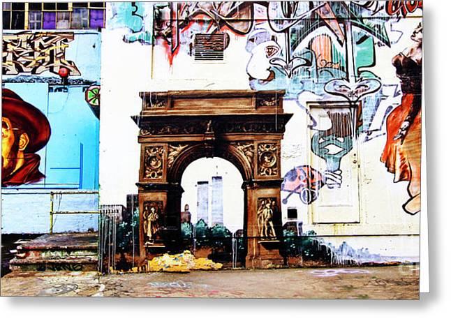 Nyc Graffiti Greeting Cards - Time Warp Greeting Card by Nishanth Gopinathan