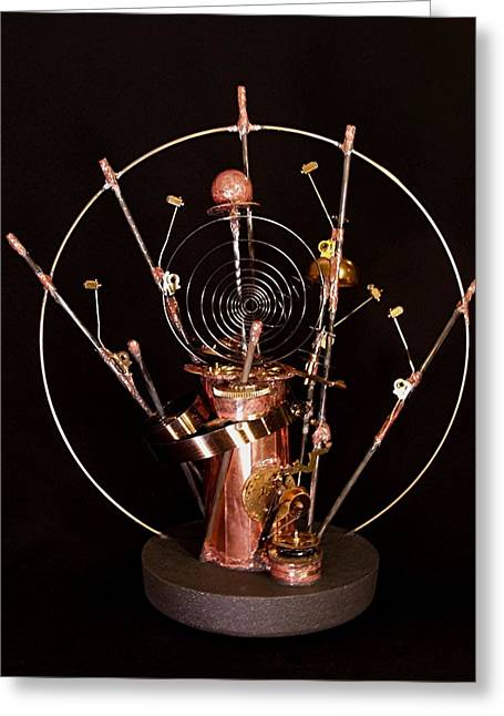 Clock Sculptures Greeting Cards - Time Warp Greeting Card by Suzanne Lowry