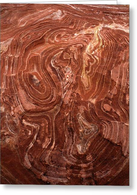 Time Worn Ceiling Of A Red Rock Niche Greeting Card by Jerry Ginsberg