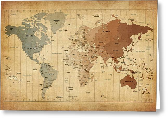 Map Of The World Greeting Cards - Time Zones Map of the World Greeting Card by Michael Tompsett