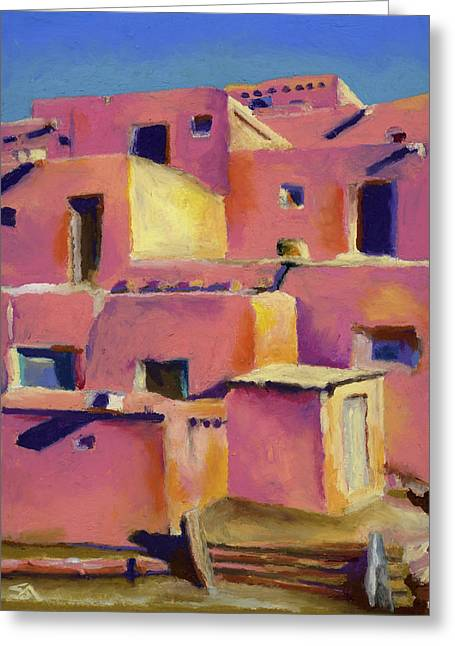 Old Door Pastels Greeting Cards - Timeless Adobe Greeting Card by Stephen Anderson