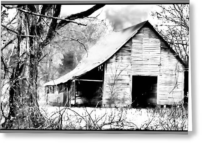Barn Digital Art Greeting Cards - Timeless in Black and White Greeting Card by Betty LaRue