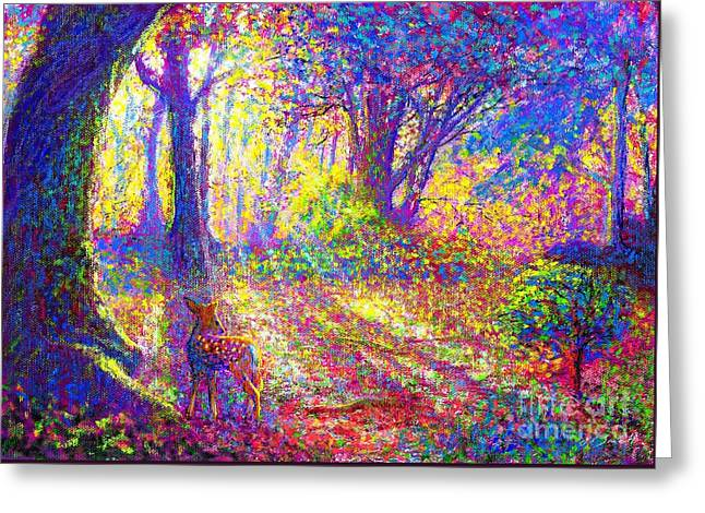 Woodland Scenes Paintings Greeting Cards - Dancing Shadows Greeting Card by Jane Small