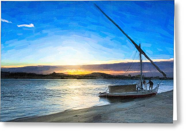 Sailboat Photos Greeting Cards - Timeless Morning on the River Nile Greeting Card by Mark Tisdale