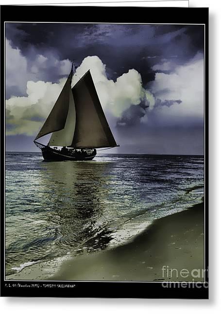 Boat Cruise Greeting Cards - Timeless Sailingboat Greeting Card by Pedro L Gili