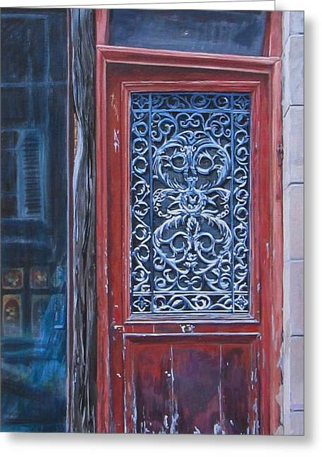 France Doors Paintings Greeting Cards - Timely Design Greeting Card by Anda Kett