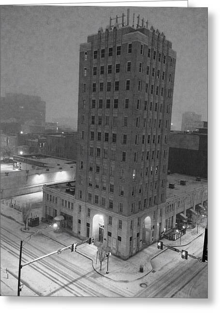 Huntsville Greeting Cards - Times Building in the Snow Greeting Card by Carole Foret
