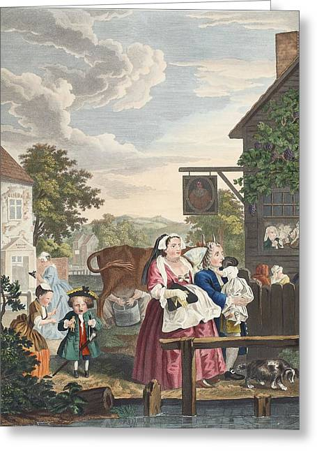 Street Scenes Greeting Cards - Times Of Day, Evening, Illustration Greeting Card by William Hogarth