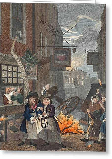 Street Scenes Greeting Cards - Times Of Day, Night, Illustration Greeting Card by William Hogarth