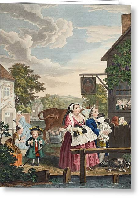 Street Scenes Greeting Cards - Times Of The Day Evening, Illustration Greeting Card by William Hogarth