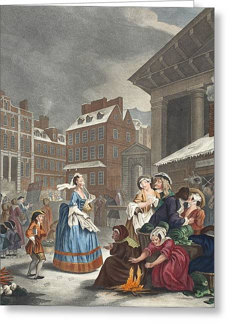 Conscience Greeting Cards - Times Of The Day Morning, Illustration Greeting Card by William Hogarth