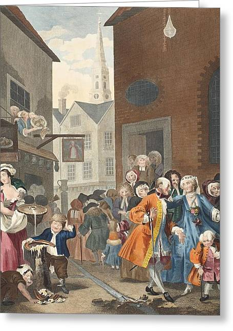Street Scenes Greeting Cards - Times Of The Day Noon, Illustration Greeting Card by William Hogarth