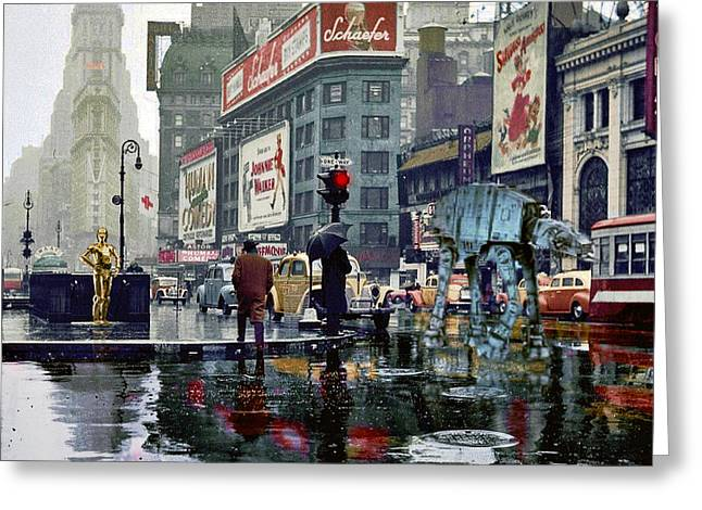 1943 Movies Greeting Cards - Times Square 1943 reloaded Greeting Card by Helge