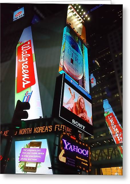 Ad Greeting Cards - Times Square Ads Greeting Card by Jim Hughes