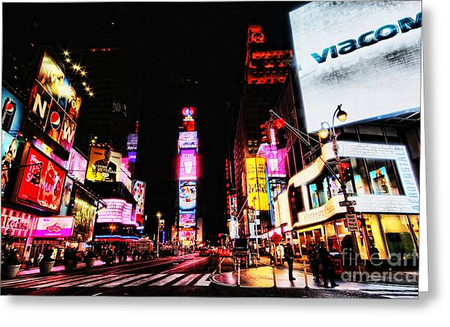 New York Cops Greeting Cards - Times Square Greeting Card by Andrew Paranavitana