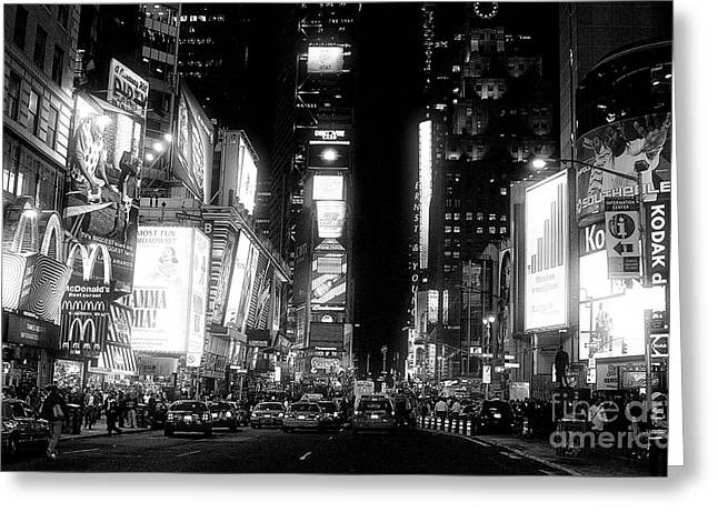 Night Shot Greeting Cards - Times Square at Night Greeting Card by John Rizzuto