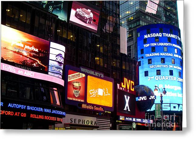 Times Square At Night New York City Greeting Card by Robert Ford