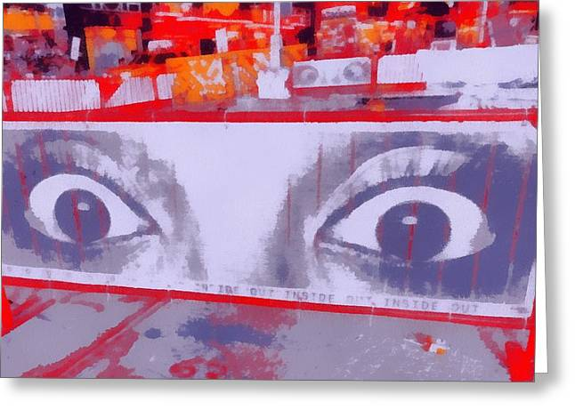 Eyebrow Greeting Cards - Times Square Eyes Greeting Card by Dan Sproul