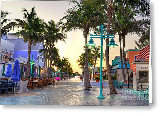 Times Square Fort Myers Beach Greeting Card by Timothy Lowry
