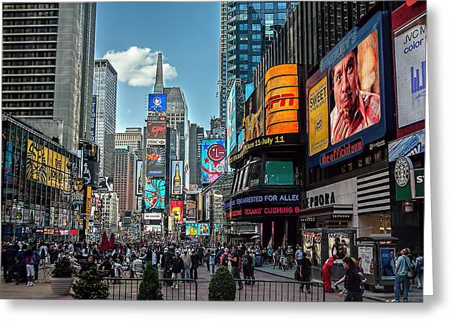 Espn Greeting Cards - Times Square Greeting Card by Glenrick Kerr