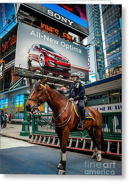 New York Cops Greeting Cards - Times Square Horse Power Greeting Card by Ray Warren