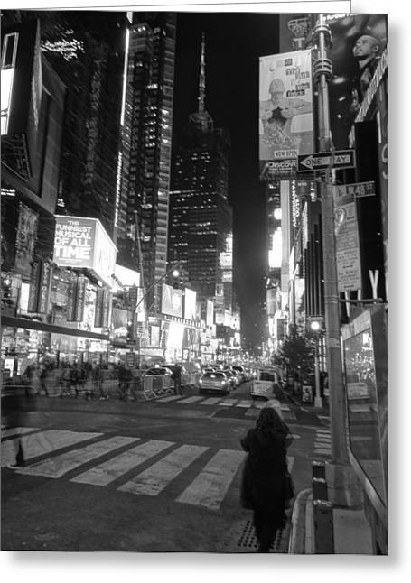 Crosswalk Greeting Cards - Times Square In Black And White Greeting Card by Dan Sproul