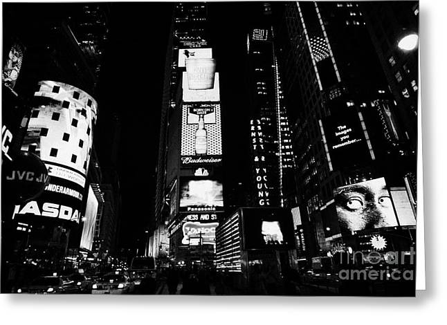 Manhaten Greeting Cards - Times Square In Nighttime Manhattan New York City Greeting Card by Joe Fox