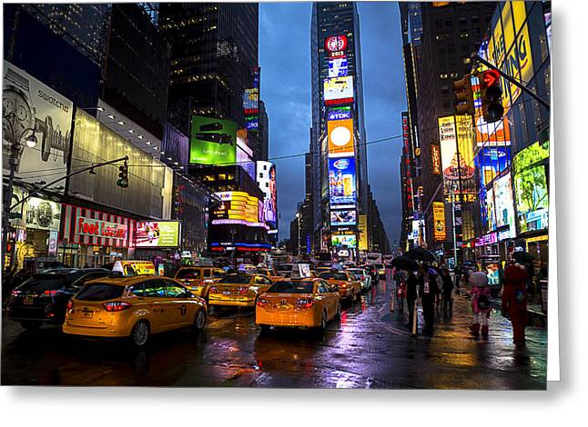 Traffic Greeting Cards - Times square in the rain Greeting Card by Garry Gay