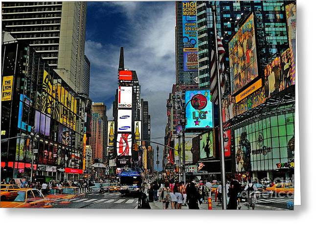 Times Square Digital Art Greeting Cards - Times Square Greeting Card by Jeff Breiman