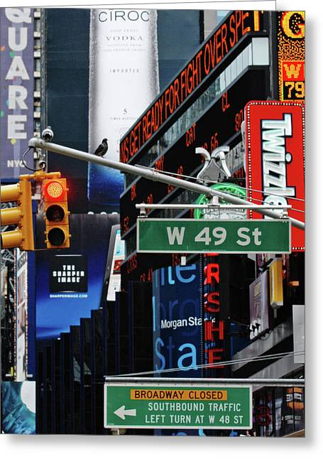 Adspice Studios Art Greeting Cards - Times Square Lights and Signs Greeting Card by Anahi DeCanio Photography
