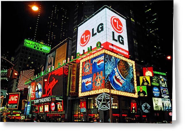 Theatre Billboard Greeting Cards - Times Square Lights Greeting Card by Joann Vitali