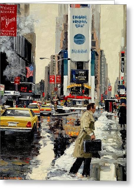 Michael Swanson Greeting Cards - Times Square Greeting Card by Michael Swanson