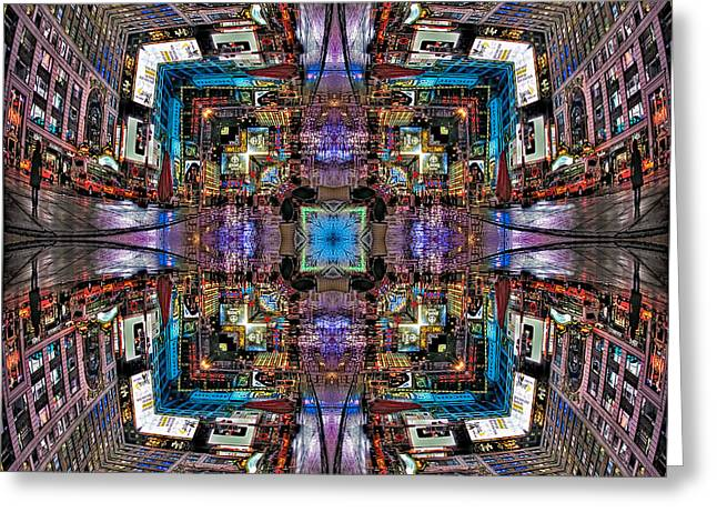 Times Square Greeting Cards - Times Square Mirrored Reflections Greeting Card by Susan Candelario