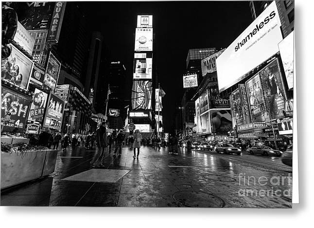 Nyc Winter Greeting Cards - Times Square mono Greeting Card by John Farnan