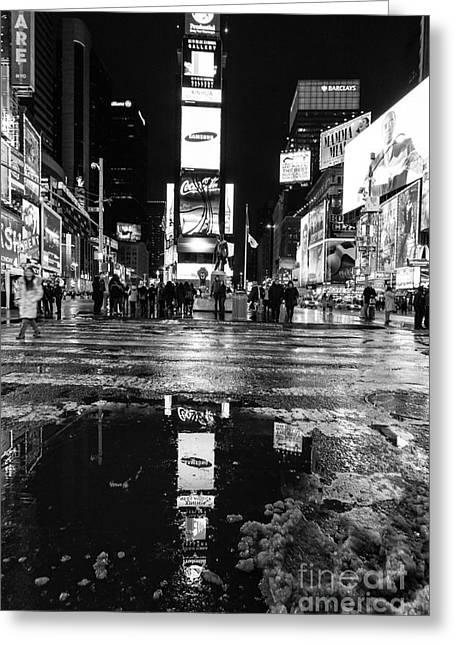 Nyc Winter Greeting Cards - TImes square monochromatic  Greeting Card by John Farnan